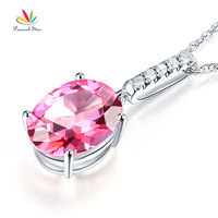 Peacock Star 14K White Gold 4.1 Ct Oval Pink Topaz Pendant Necklace 0.1 Ct Diamond