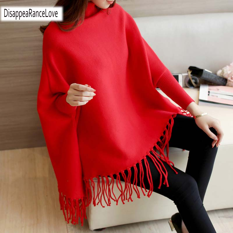 2019 Women Pullovers And Sweaters Loose Tassel Soft Shawl Poncho Women Turtleneck Sweater Bat Long Sleeve Pullover Sweater