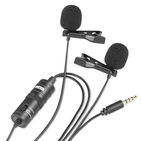 BOYA BY-M1DM Dual Omnidirectional Lavalier Microphone Clip-on Lapel Mic for Iphone Smartphones Cameras Camcorders Audio Recorder Karachi