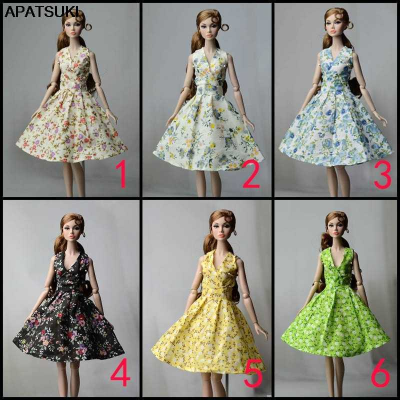 Fashion Countryside Floral Flower Dress For Barbie Doll Clothes Party Gown Evening Dresses For Barbie Dolls Outfits Accessories