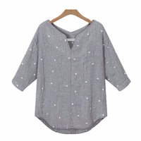 Star Printed Women Tops Medium Sleeve Summer Styles Shirts Fashion Loose Blouses Shirts New Summer Blusas