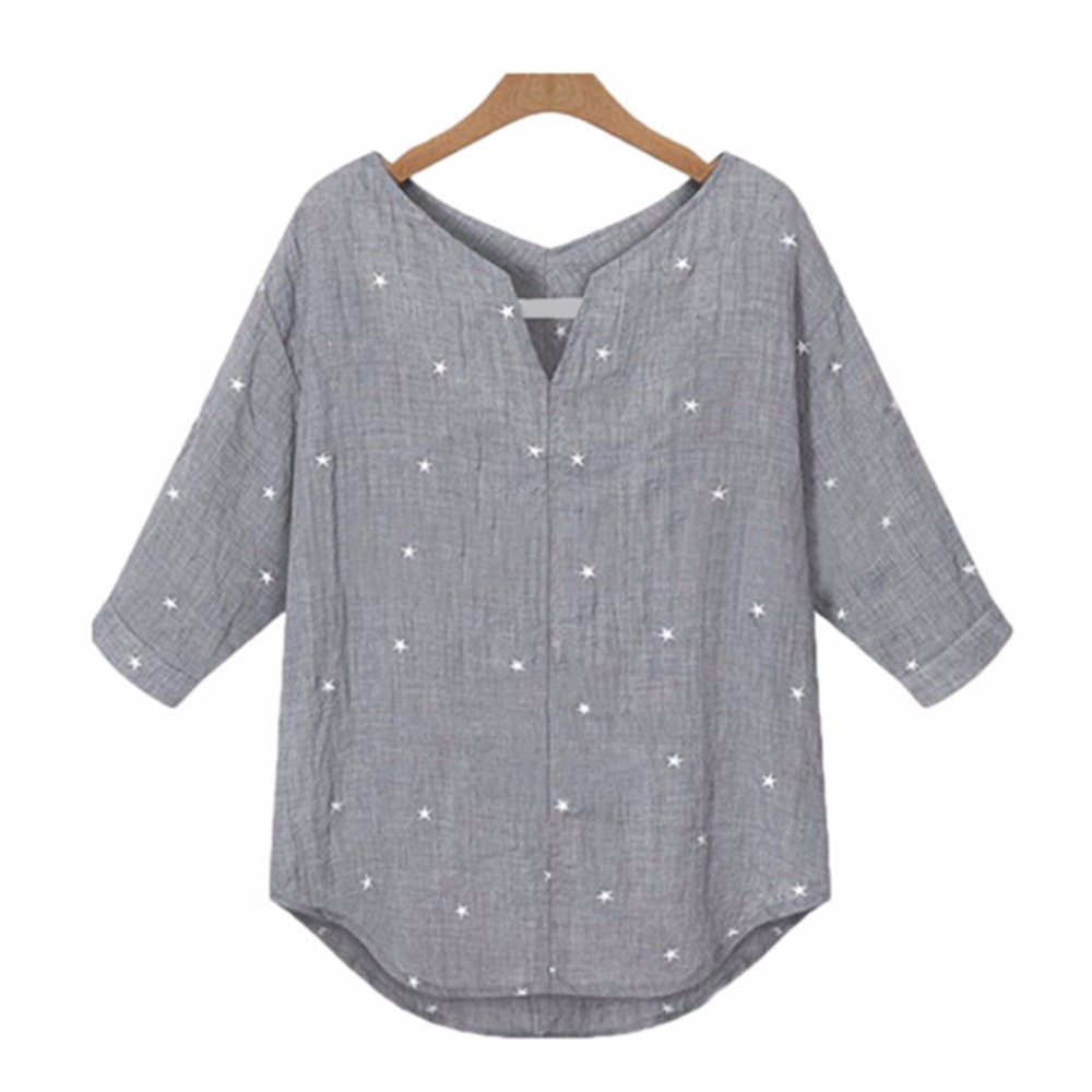 Star printed Women tops Medium Sleeve summer Styles Shirts Fashion loose Blouses Shirts Summer Blusas women's fashion novelties