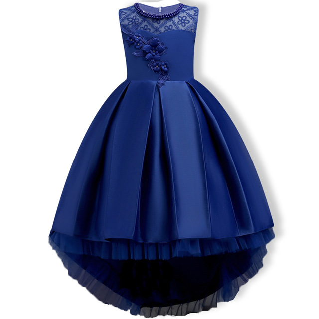 High Low Green Girls Pageant Dresses With Pears Tulle Flower Girl Dresses Kids First Communion Dresses Evening Party Gowns
