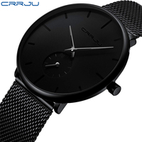 CRRJU2150 Fashion men watches Top brand Causal Ultra thin Mesh Steel Wristwatch male Black classic sport waterproof Quartz clock