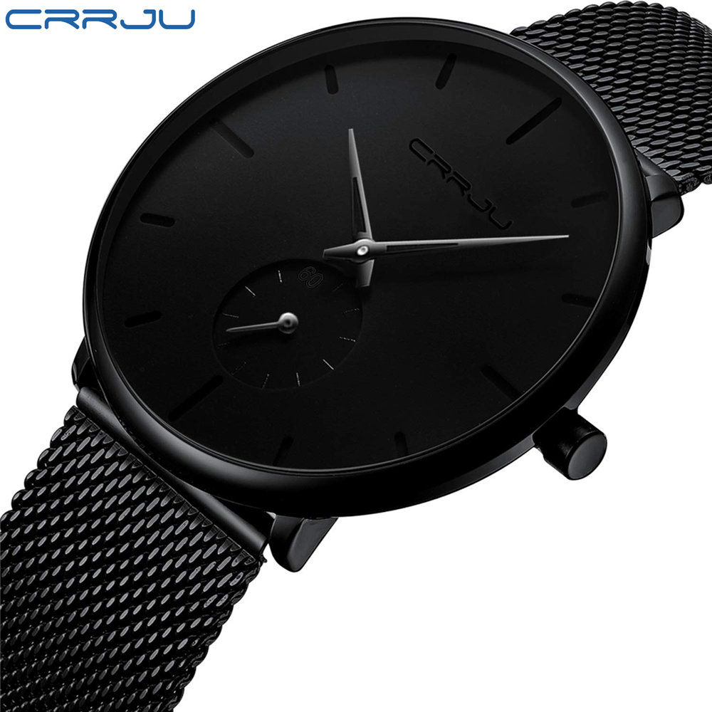 CRRJU2150 Fashion Men Watches Top Brand Causal Ultra-thin Mesh Steel Wristwatch Male Black Classic Sport Waterproof Quartz Clock