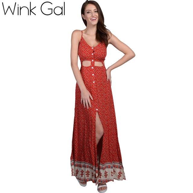 569b7178d370fc € 17.94 30% de réduction|Wink Gal nouvelle robe 2018 maison robe bohème  Boho sans manches été robe coton Floral Maxi robes Sexy col en v sans ...