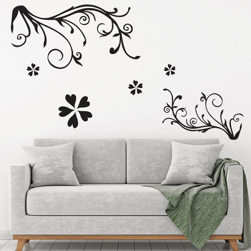 Black color Flower vine wall Stickers PVC Material waterproof wall decals For Living room bedroom Study Office decor murals