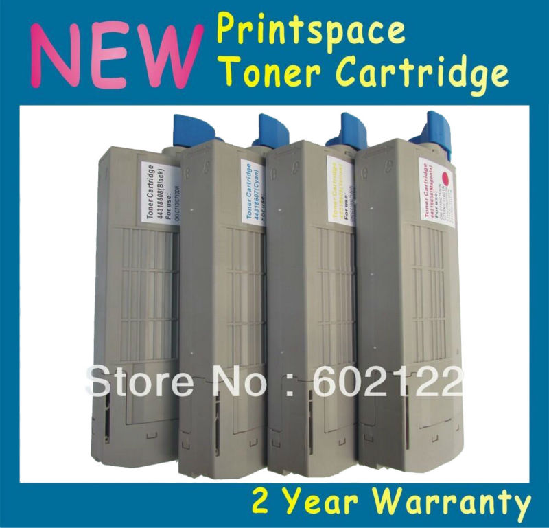4x NON-OEM Toner Cartridges Compatible For OKI C710 C710n C710dn C710dtn C710cdtn 43866101 43866104 KCMY Free shipping powder for oki data 700 for okidata b 730 dn for oki b 720 dn for oki data 710 compatible transfer belt powder free shipping