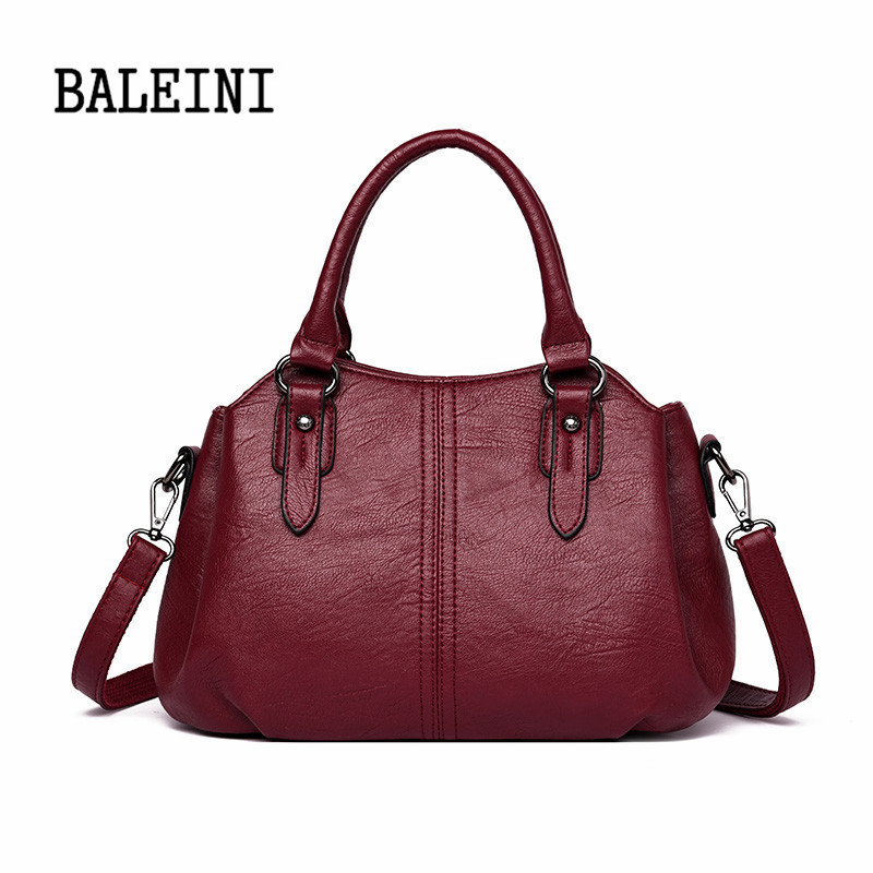 BALEINI 2019 Luxury Brand Women Leather Handbag 100% Genuine Leather Casual Tote Bags Soft Sheepskin Female Big Shoulder Bag