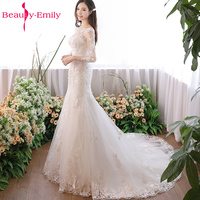 Beauty Emily Luxury Lace Up White Sexy Wedding Dresses 2018 New Design Floral Trailing Skirt Wedding