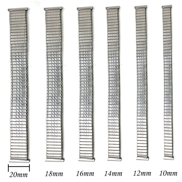 Way Deng - Women Men Flexible Expansion Stretch Stainless Steel Watch Band Strap Bracelet 10 12 14 16 18 20 mm - Y102