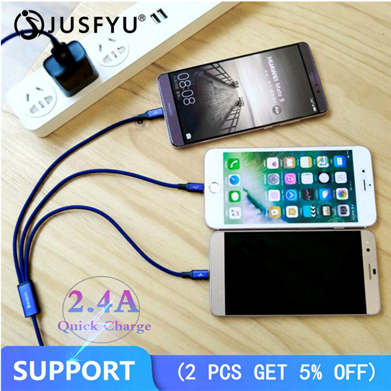2.4A Fast Charger 3 in 1 Micro USB 1.2M Cable for iPhone/Android/Type C Universal for Mobile Phones Charging Cables 8 Pin Quick