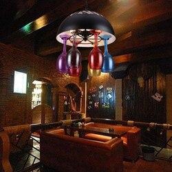 Amerykańska osobowość twórcza wielokolorowe kubki retro wiatr pręt z żelaza kawiarnia restauracja kolor butelki szklane lampy wiszące ZA FG456 w Wiszące lampki od Lampy i oświetlenie na