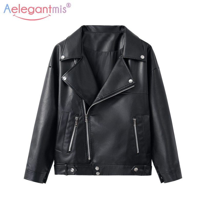 Aelegantmis Biker Jacket Outerwear Basic-Coat Moto Spring Faux-Leather Autumn Plus-Size title=