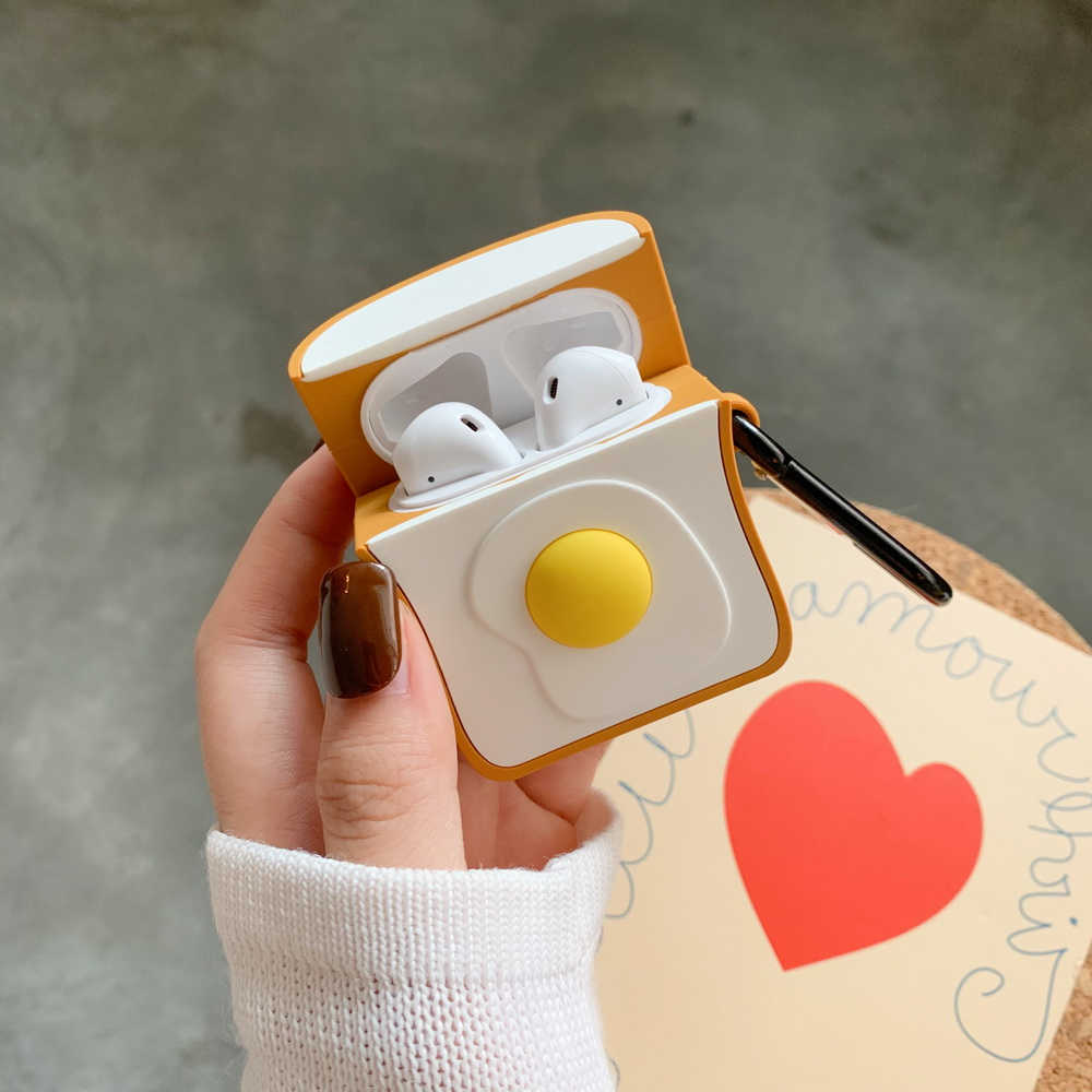 3D SOFT Silicone cute toast cartoon case for Airpods lovely gift Apple Airpods2 bluetooth earphone