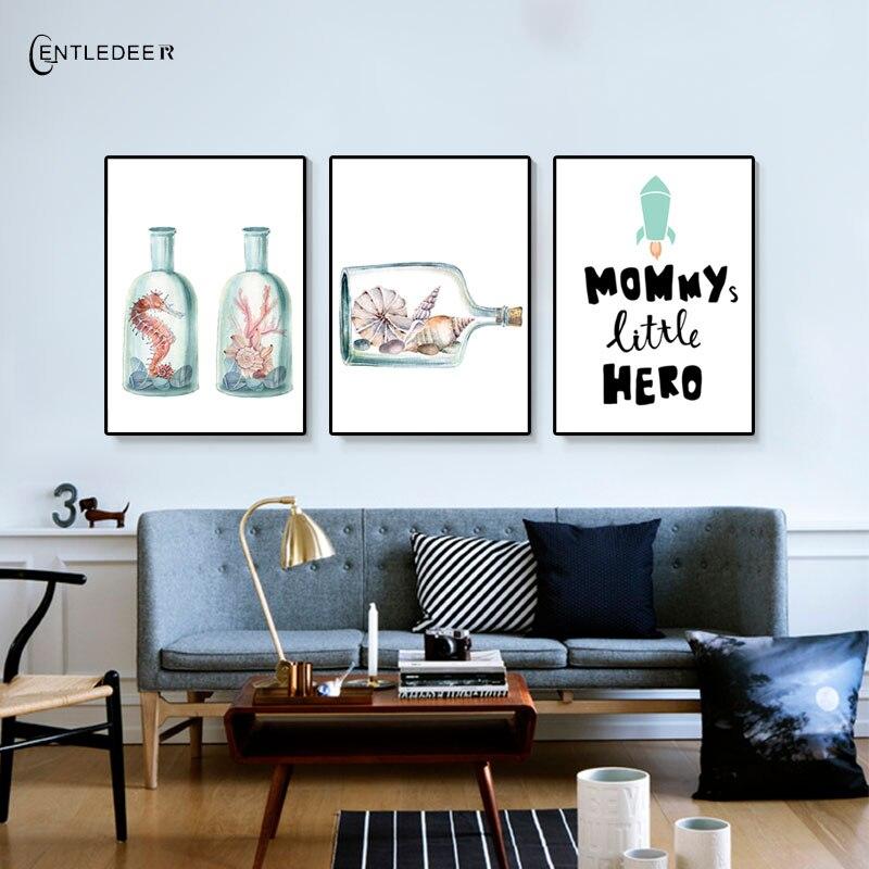 Gentle deer cup nordic marine organism simple posters - Simple canvas painting for living room ...