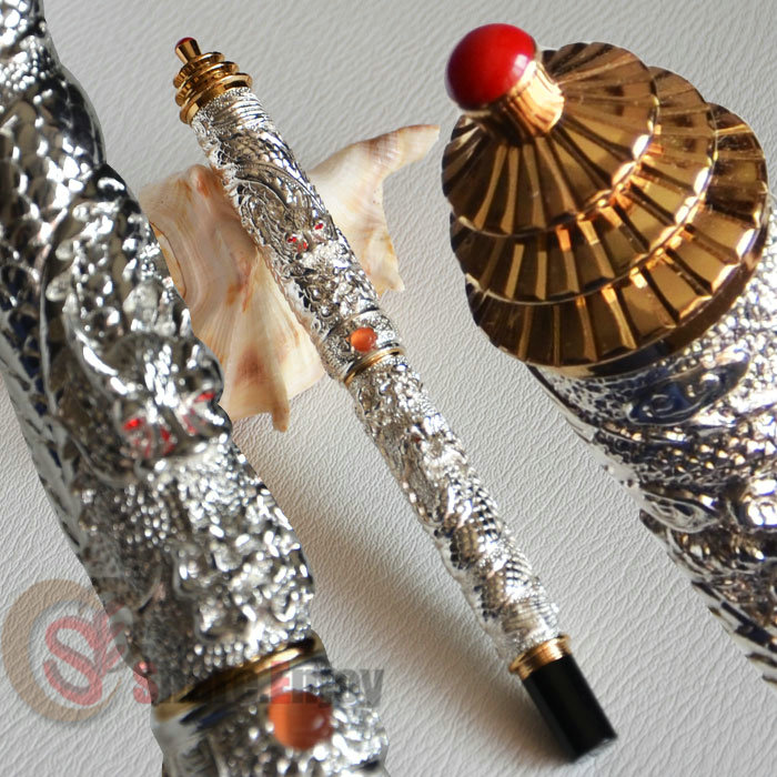 ROLLER BALL PEN NOBLE JINHAO SILVER AND GOLDEN TWO DRAGON PLAY PEARL PAGODA