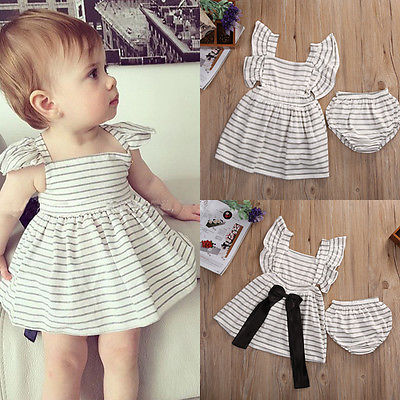 2pcsNewborn-Baby-Girl-Dress-Infant-Striped-Fly-Sleeve-Bowknot-DressShorts-Bottom-Clothes-Outfit-3