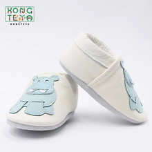 non-slip first walkers handmade soft sole hot sell cartoon print genuine leather baby