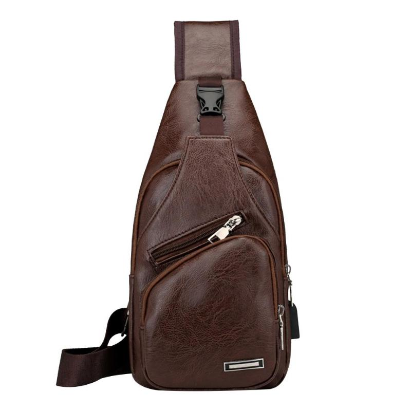 MOJOYCE USB Charging Men Teen Chest Pack PU Leather Sling Shoulder Strap Bags High Quality Solid PU Boys Men Chest Pack