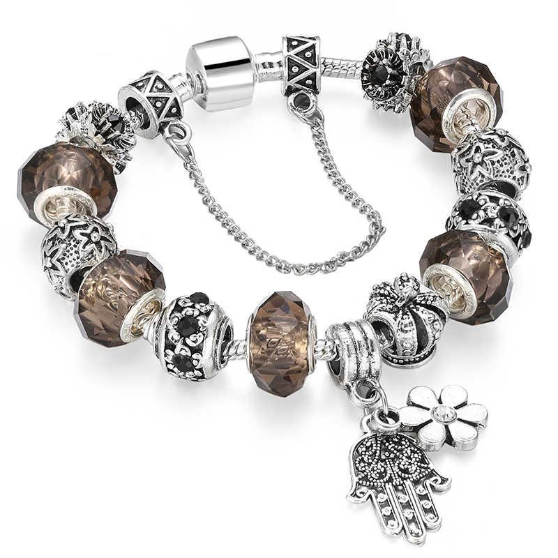 Подвеска, серебряные браслеты с подвесками и браслеты, хрустальные бусины, браслеты с амулетом для женщин, подарок, вечерние ювелирные изделия, Прямая доставка