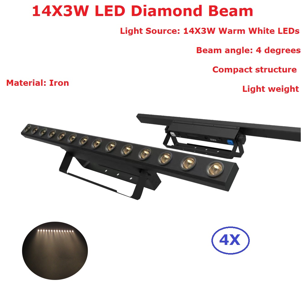 Carton Package 4XLot Professional Stage Strobe Effect Lights 14X3W Warm White LED Diamond Beam Lights With 7/14 DMX Channels