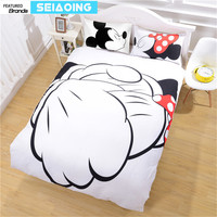 Good Friend Mickey Minnie Mouse Bedding Sets 3pc Cartoon Comforter Covers Kid Twin Full Queen King