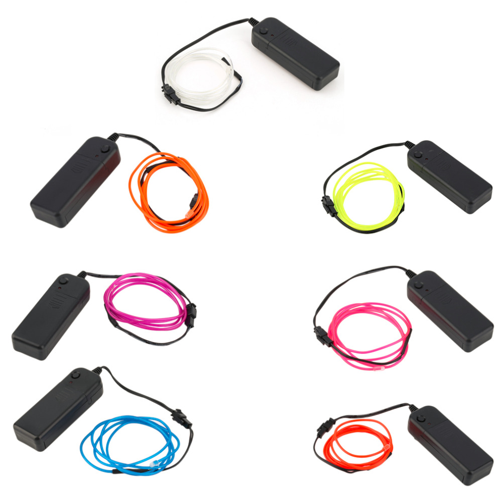 2017 Colorful 1M EL Wire Tube Rope Battery Powered Flexible Neon Cold Light Car Party Wedding Decor With Controller Hot