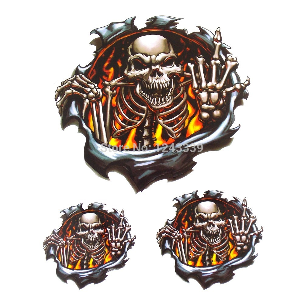 Online Buy Wholesale Flaming Skull Stickers From China