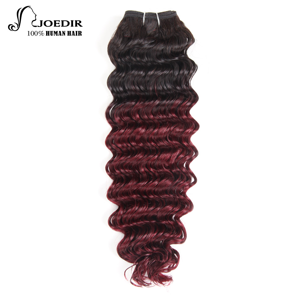 Joedir Hair Deep Wave Bundles 1 Piece Only Brazilian Hair Weaving 113g Remy Hair Extensions Color t1b/99j Free Shipping