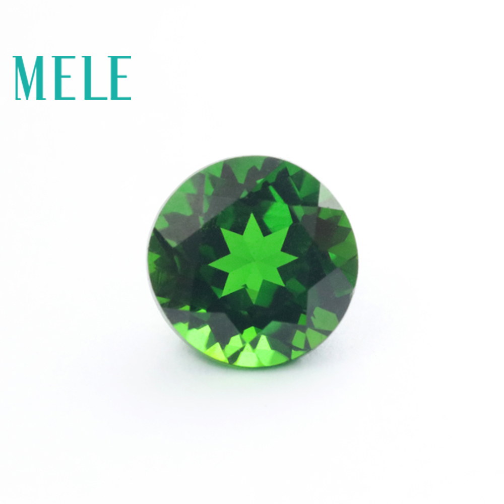 High quality natural chrome diopside gem for jewelry making,6mm round cut 1.2ct loose gemstones DIY jewelry stone