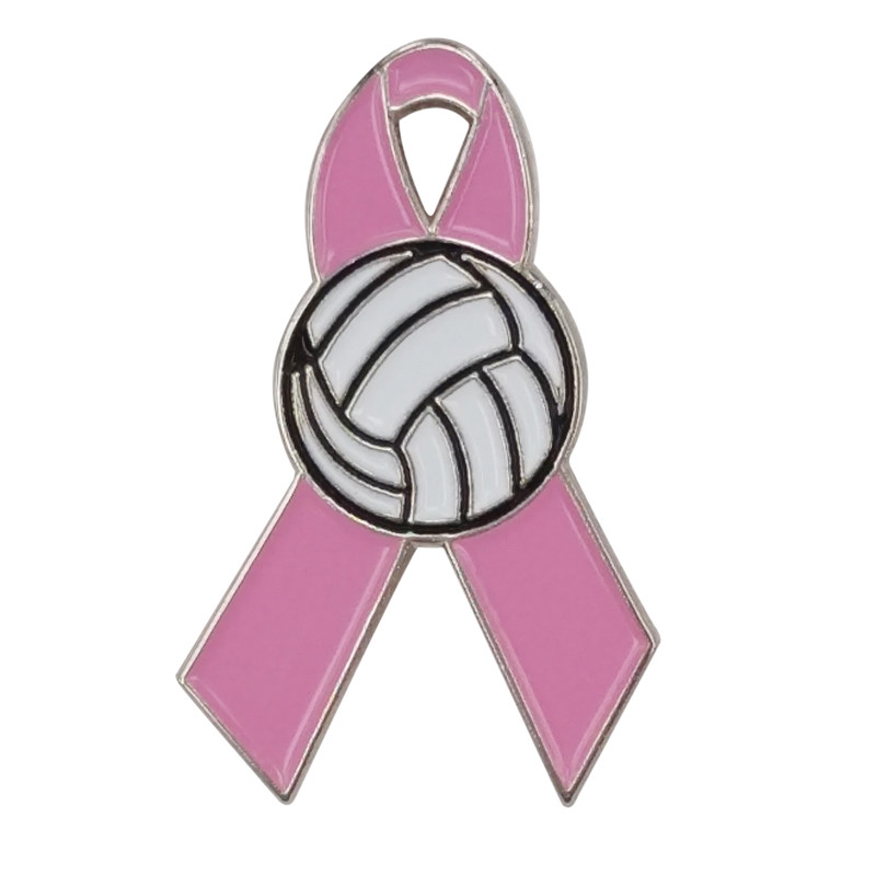 US $2 5  Breast Cancer Awareness Volleyball Girl Softball Belly Dancer  Basketball Soccer Golf Ball Pink Ribbon Lapel Pins-in Brooches from Jewelry  &