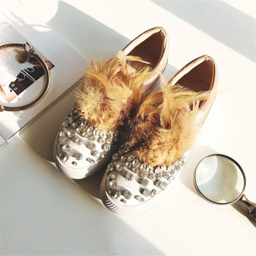 Plat Patckwork Strass Mocassins Soie Satin on De Chaussures Furry Cristal Femme Casual Feather Embelli beige Fourrure red Dames Black Slip hdsQrt