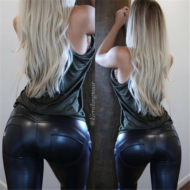 2017 new Faux Leather Leggings gothic Sexy High significantly thin elastic pants Pencil fitness legging Women Leggings 6 size