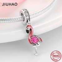 Heißer Verkauf 100% 925 Sterling Silber Emaille Flamingo Mode Charme Perlen Fit Original Pandora Charms Armbänder Schmuck machen
