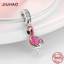 Hot Sale 100% 925 Sterling Silver Enamel Flamingo Fashion Charm Beads Fit Original Pandora Charms Bracelets Jewelry making цена