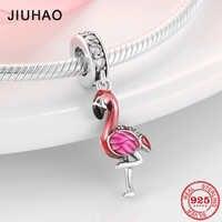 Venda quente 100% 925 prata esterlina esmalte flamingo moda charme contas caber original pandora encantos pulseiras jóias fazendo