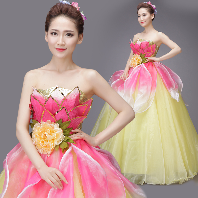 63a9a9af7 New Solo Stage Performance Costumes Studio Theme Caesu Tube Puff Skirt Long  Evening Dress-in Chinese Folk Dance from Novelty & Special Use on  Aliexpress.com ...
