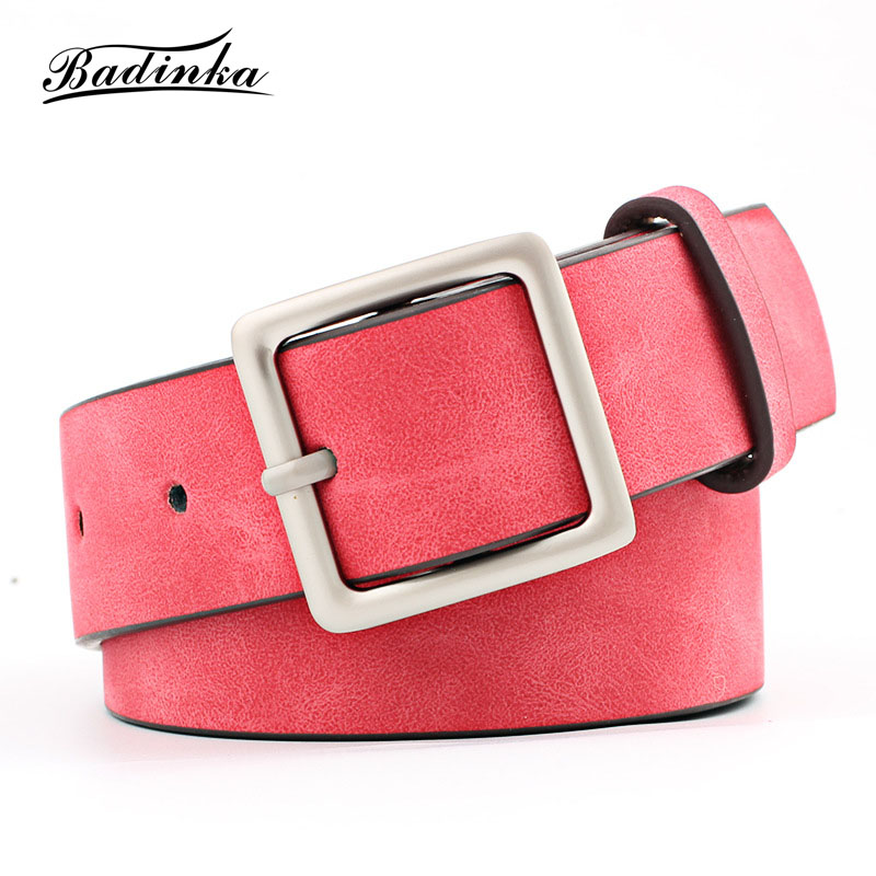 Badinka 2019 New Designer Black Red White Wide Suede Leather   Belt   Female Vintage Silver Square Buckle Waist   Belts   for Women Jean