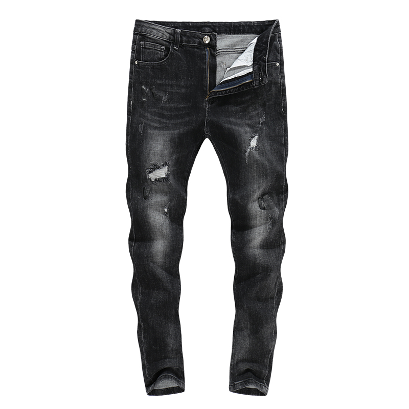 KSTUN Mens Jeans 2018 Ripped Distressed High Street Thick Male Trousers Full length Printed Grey