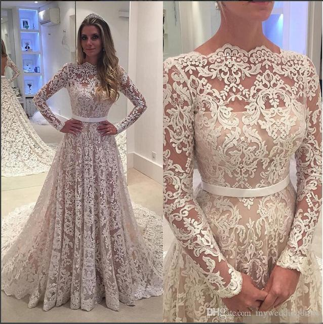 New Arrival Full Lace Applique Long Sleeves 2017 Arabic Wedding ...