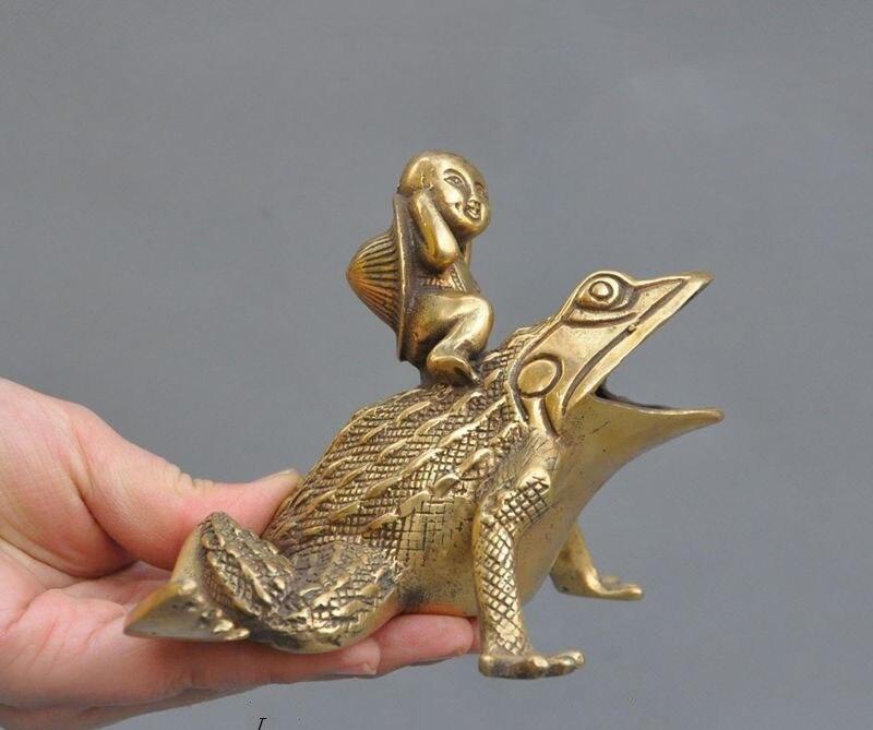 Artisanat statue chine Folk Fengshui pur laiton grenouille garçon Bufo crapauds richesse chanceux Art Statue
