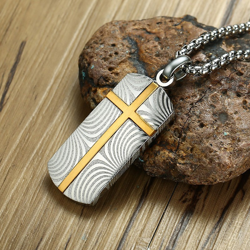 Vnox Unique Damascus Steel Cross Necklace for Men Vintage Latin Cross Prayer Pendant Male Colar Persian Mysterious Gifts fashion rhinestone hollow out tortile cross shape pendant necklace for men