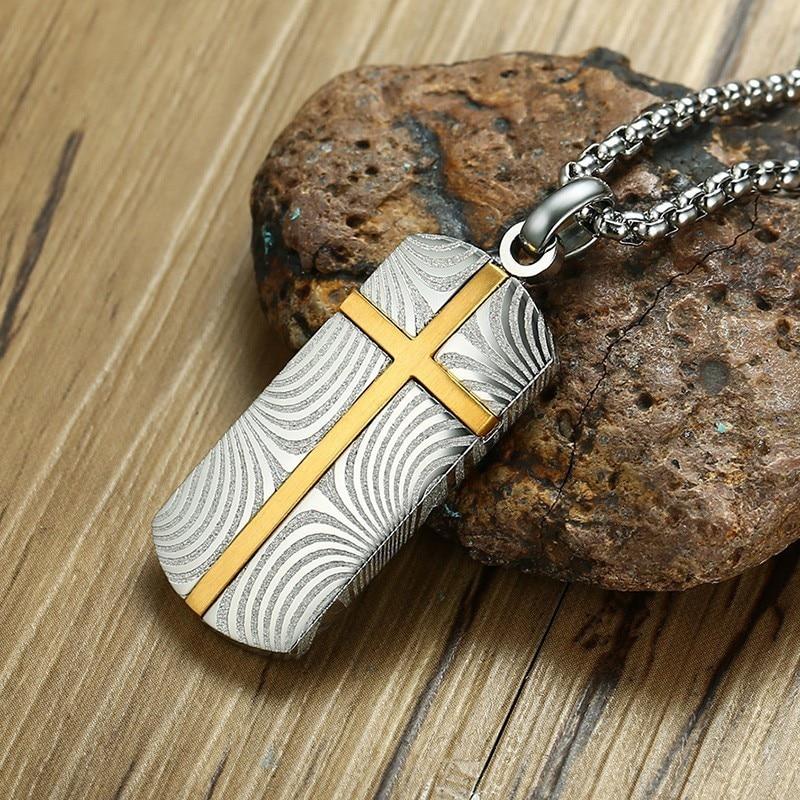 Vnox Unique Damascus Steel Cross Necklace for Men Vintage Latin Cross Prayer Pendant Male Colar Persian Mysterious Gifts