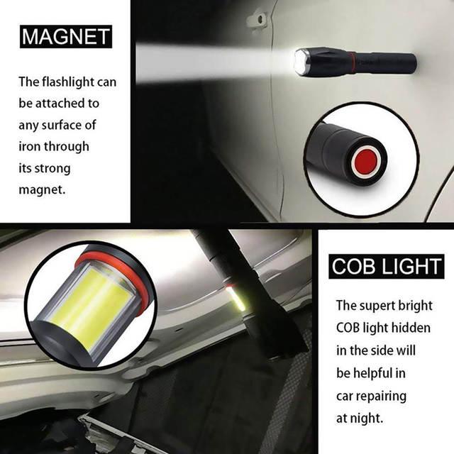 Magnet Lamp Torch Albinaly Flashlight Super Hidden Tail L2 T6 Cob Multifunction Led 8000 Design Camping Lumens ZiOPkXuT