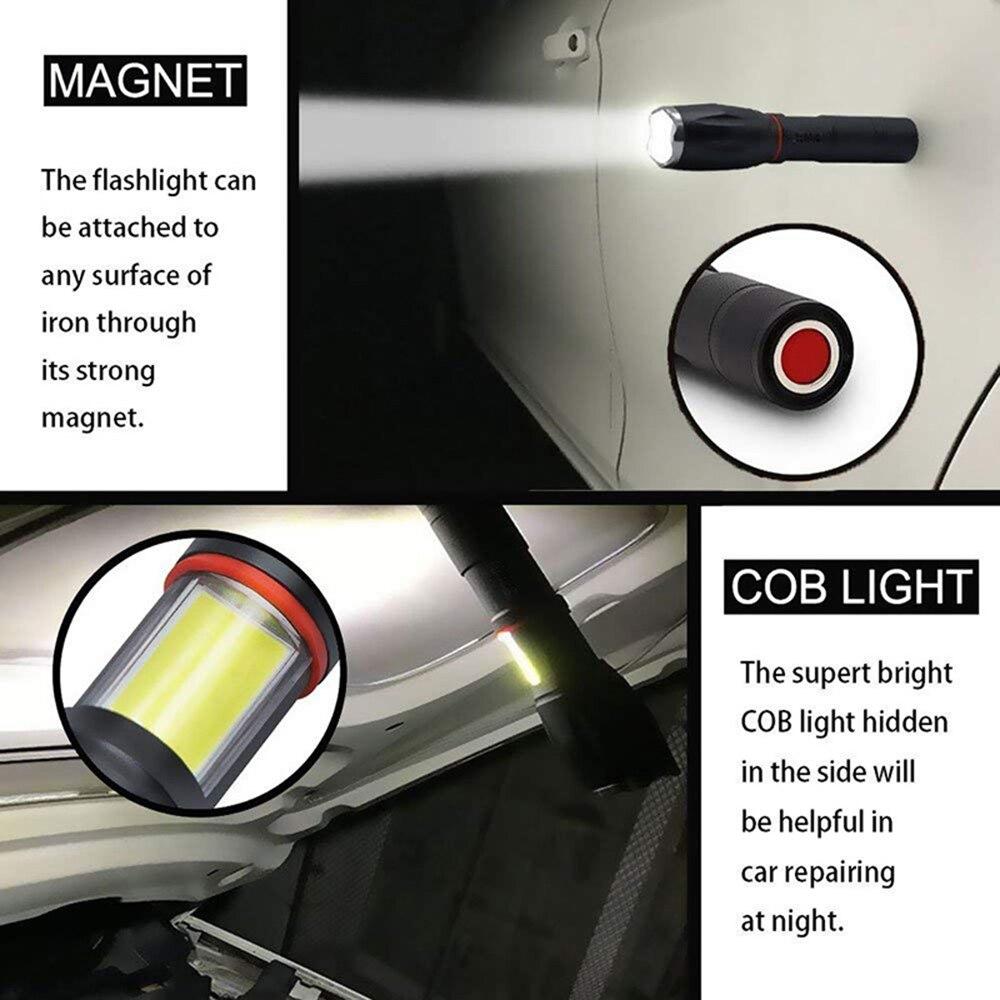 Albinaly Multifunction Led flashlight waterproof T6 L2 torch hidden COB design flashlight tail super magnet design camping lamp