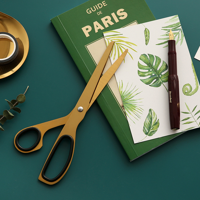 Vintage Simple Craft Scissor Design Brass Scissors Paper Cutter