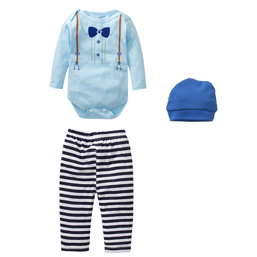 New 2017 Baby Girls Clothing Set Long Sleeved Printing Romper +Pants+Hat Fashion Baby Boys Girls Clothes Newborn 3pcs Suit
