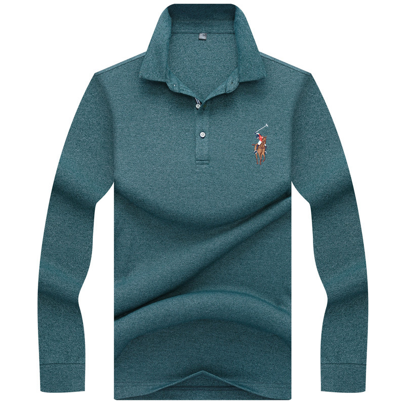 2018 New Mens   Polo   Shirt Autumn Long Sleeve Fashion Embroidery Fit Slim Male Cotton Casual   Polo   Shirts Men   Polo   Tees 3XL AF8867