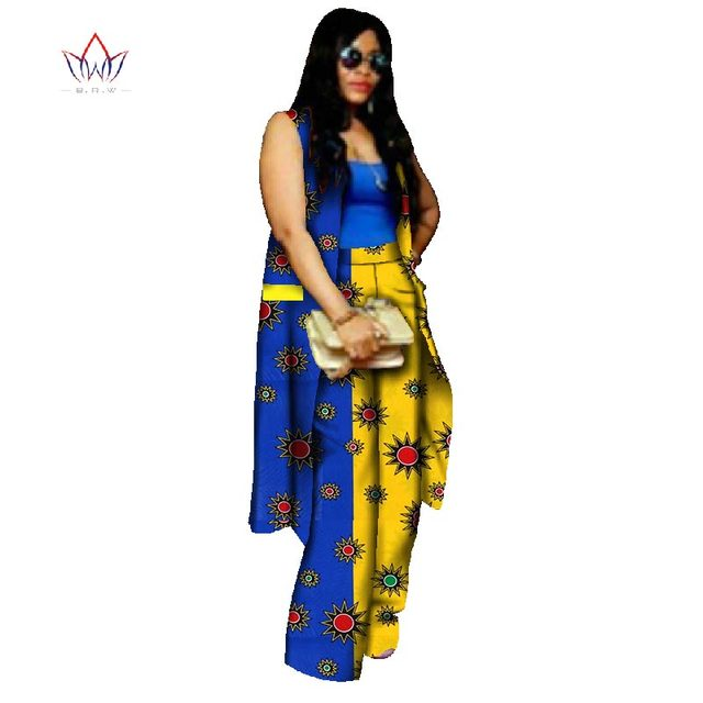 Fashion African Print Pants for Women Plus Size African Sets Bazin Riche  Casual Coat Clothing Brand Clothing Top and Pants WY618 ac6fbff51be2